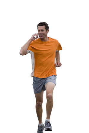 Cut out of active male runner talking on mobile phone