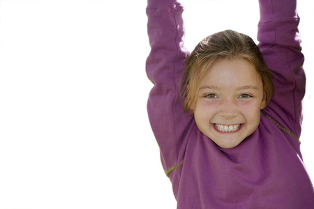 Cut out of smiling girl with outstretched arms at camera Stok Fotoğraf