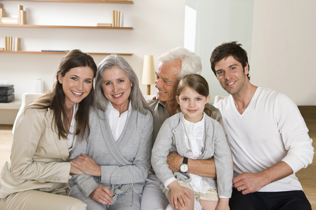 Portrait of multi-generation family at home together