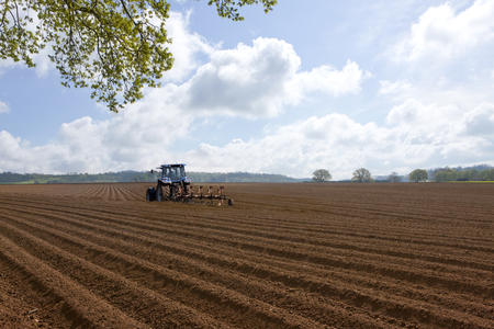 Freshly tilled soil in farm field with tractor ploughing with blue sky Stock Photo