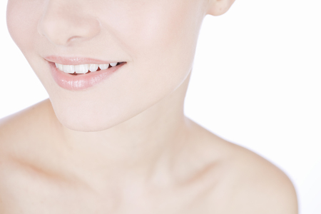 Studio beauty shot with young smiling woman with perfect teeth Stock Photo - 119753640