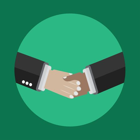 white colour: Green Shaking Hands icon, making deal, partnership Illustration