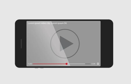 screen: Video player on the screen of smartphone Illustration