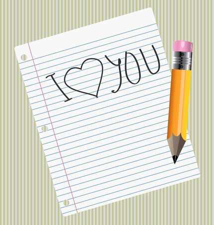 handwrite: I Love you handwrite sign on the sheet of paper Illustration