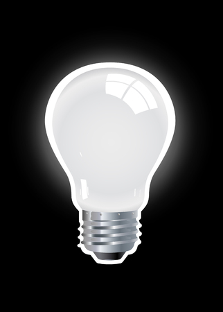 fluorescent lights: Shining Lamp isolated on the black background Illustration