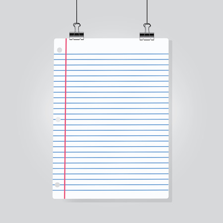 Sheet of lined paper hanging on clamps