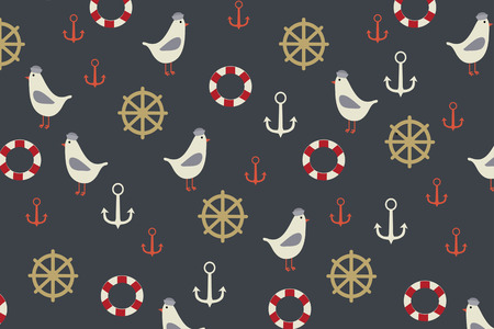 lifeboat: Marine background with seagull, anchor, lifeboat on it drown