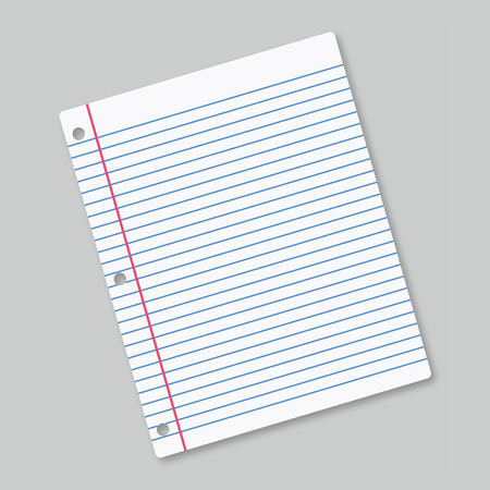 ruled: Lined sheet of paper on grey background