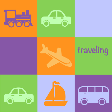 motivator: Travelling motivator. Vehicles on different backgrounds
