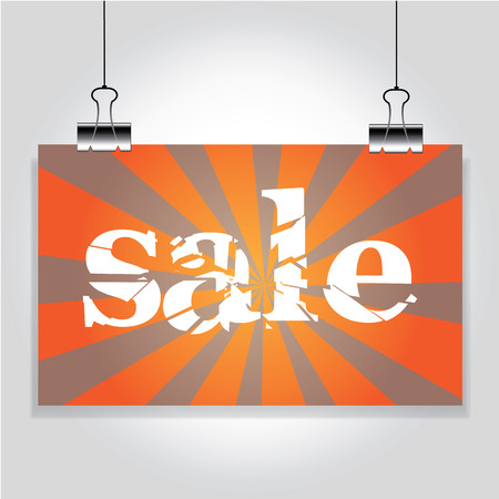 clamps: Orange Sale sign hanging on the clamps