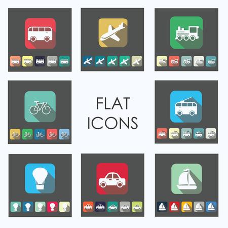 48: Set of 48 Flat transportation icons
