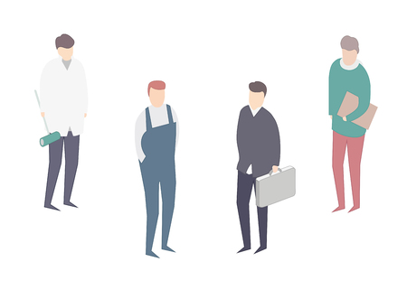 bussinesman: Kinds of jobs. 4 Workers. Bussinesman. profession Illustration