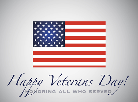 Happy veterans day. Honoring all who served. American Flag. 11th of November Illustration