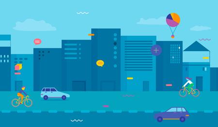 都市では。都市の平らな映像。都市の景観。  イラスト・ベクター素材