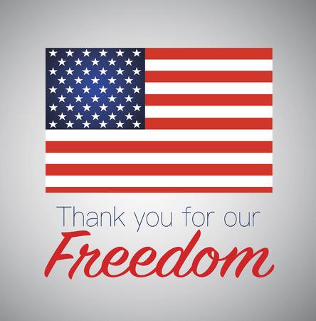 Děkuji za svobodu. Americká vlajka. Ilustrace