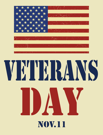 national hero: Veterans Day. American Flag. Illustration