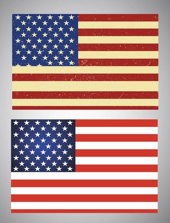 banderas america: Conjunto de dos banderas de Estados Unidos aislado en blanco Vectores