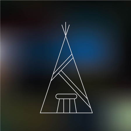 wigwam: Wigwam thin line icon isolated on dark blue