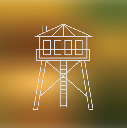 hunters: Hunters house thin line icon isolated on soft blured background Illustration
