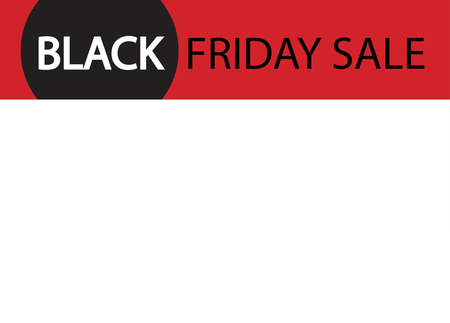 curved: Black Friday poster with white background. Red stripe with sircle.