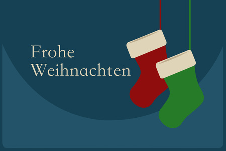 frohe: Frohe Weihnachten poster with Christmas Socks on blue background. Merry Christmas Germany! Illustration