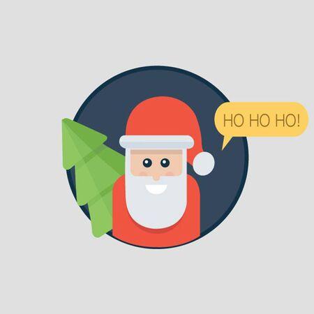 ho: Santa Claus ho ho ho. Christmas card with Santa holding Christmas tree. Flat Design Illustration