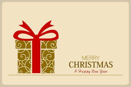 メリー クリスマスと幸せな新年カード ギフト ボックスと赤いリボンの黄色の分離