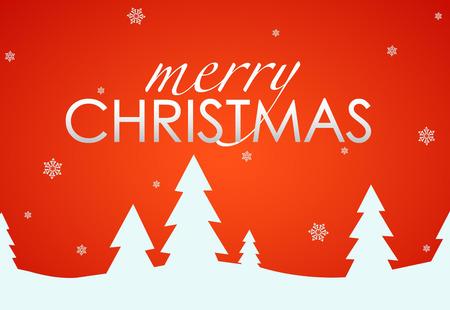 木といくつかの雪の束とメリー クリスマス赤カード