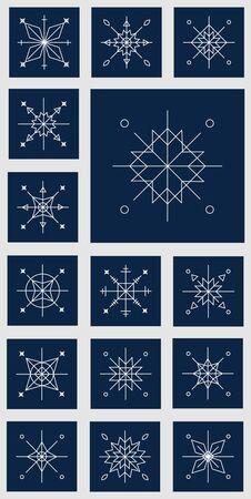 青い背景のクリスマス雪の結晶。雪の結晶のセットです。飾り