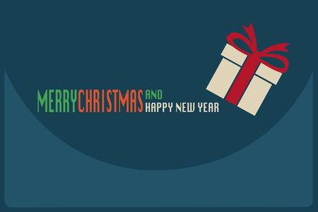 青色の背景色と陽気なクリスマスと幸せな新年のカード