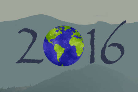 幸福な新しい 2016 年。それに地球で描きます。地球