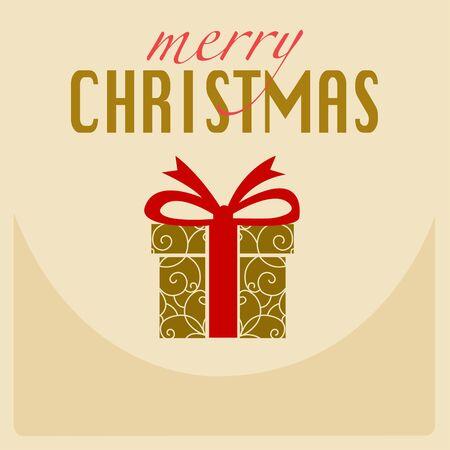 ギフト用の箱と赤いリボンのメリー クリスマス黄色カード