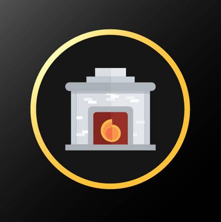 黒の背景に暖炉黄金アイコン