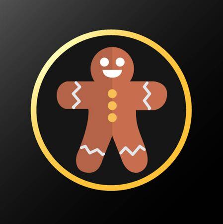 クリスマス クッキーのアイコンが黒とゴールドの背景に分離