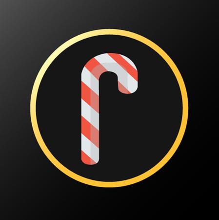 黒と金色の背景に分離されたクリスマスの赤いお菓子アイコン