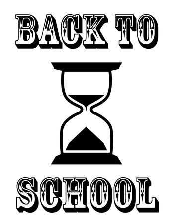 砂時計のバナーを学校に戻る  イラスト・ベクター素材