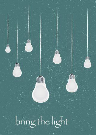 Bring the light motivating picture. Mock-up design on the green background Ilustração
