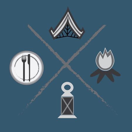 ランプ、テント、火、料理など 4 キャンプ アイテムのセット