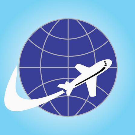 飛行機と地球平面フラット デザイン画の旅  イラスト・ベクター素材
