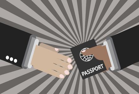 空港でパスポートを与えること。パートナーシップのための 2 つの手