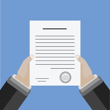 signing document: 2 Hands holding the Document. Signing a paper Illustration