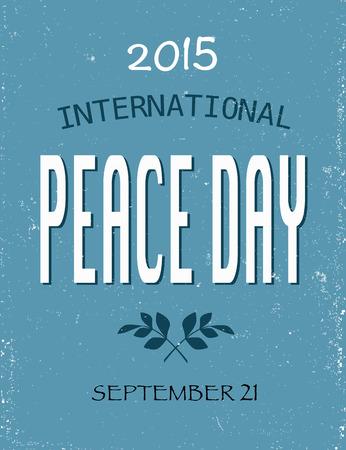 青い傷背景に国際平和の日ポスター