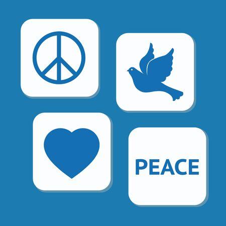 平和日アイコンが青の背景に設定します。