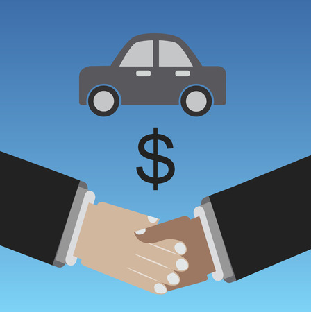 Selling car, shaking hands for a bussines deal