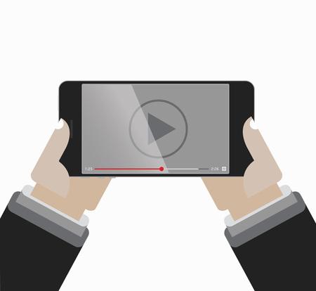 ビデオ プレーヤーの画面で手を保持しているスマート フォン  イラスト・ベクター素材