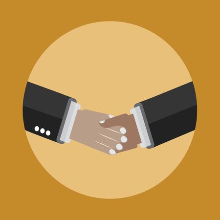 黄色の背景に手アイコンを揺れ。ビジネスとパートナーシップ契約。