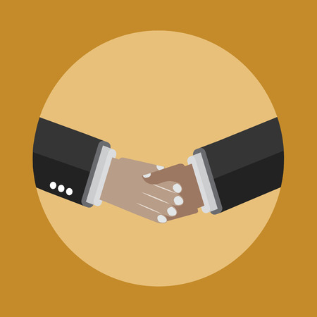 agreement shaking hands: Shaking hands icon on the yellow background. Business and partnership agreement. Illustration