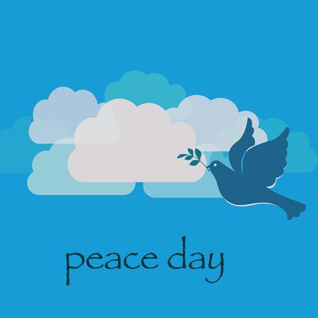 雲の背景のハトと平和の日