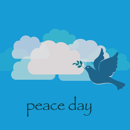 Peace day with pigeon on clouds background