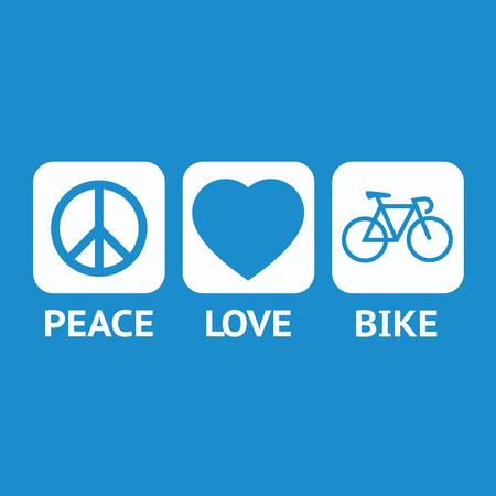 平和の日のための青いエンブレム。平和、愛と青の背景に自転車